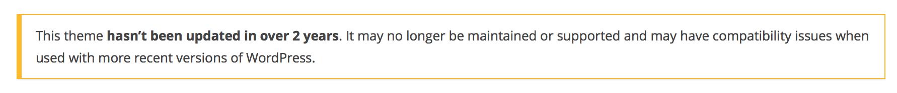 WordPress plugin warning